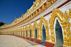 U Min Thonze Pagoda Royaltyfria Foton