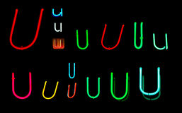 U Neon Letters. Neon letters U collected from neon signs for design elements Stock Images
