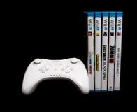 U procontrolemechanisme en spelen van Nintendo Wii Stock Foto's