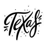 U S κρατικό όνομα Τέξας Συρμένη χέρι διανυσματική εγγραφή η ανασκόπηση απομόνωσε το λευκό ελεύθερη απεικόνιση δικαιώματος