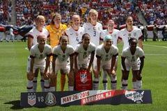 U S Компановка футбольной команды женщин национальная перед дружелюбной игрой против Мексики как подготовка для кубка мира 2019 ж стоковое изображение