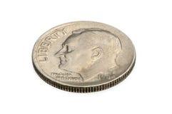 U S монетка 10 центов изолированная на белой предпосылке обратный Стоковое Изображение RF
