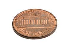 U S одна монетка цента изолированная на белой предпосылке Стрельба макроса Стоковые Фото