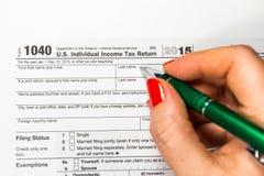 U S 单独收入税单 税1040 免版税库存图片