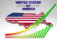 U S A 在3D例证的被映射的旗子 免版税图库摄影