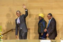 U S 贝拉克・奥巴马总统做他的第一次总统访问t 免版税图库摄影
