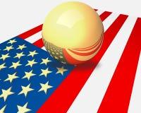 U.S. 旗子和金球形。 免版税库存照片