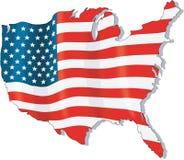 U S 旗子地图传染媒介例证 向量例证