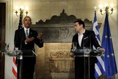 U S 总理Al总统贝拉克・奥巴马、权利和希腊 库存图片