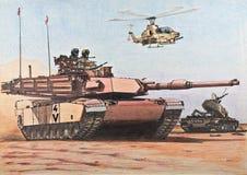 U.S. 艾布拉姆斯坦克通过被毁坏的伊拉克T-55 库存照片