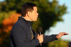 U S 马克罗・鲁比奥,佛罗里达的共和党人参议员,在贝得福得, 2015年10月6日的新罕布什尔讲话 图库摄影
