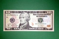 U.S. 10 Dollarschein Stockbild