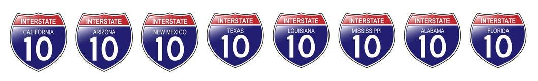 U.S. 10 sinais de um estado a outro, Califórnia a Florida ilustração do vetor