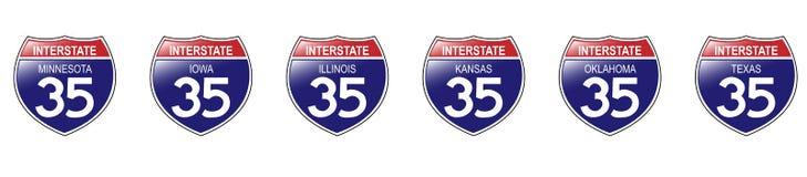 U.S. 35 segni da uno stato all'altro, Minnesota al Texas. Fotografia Stock