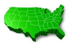 U.S.A 3D green map Stock Photo