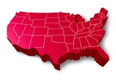 U.S.A 3D kaart Stock Afbeelding