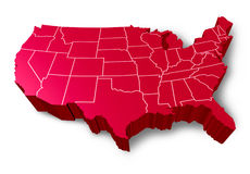 U.S.A 3D map. Symbol represented by a red dimensional United States Stock Image