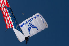 U.S. Air Force Air Show Skydivers Stock Images