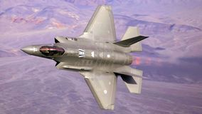 U.S. Air Force F-35 Joint Strike Fighter (Lightning II) jet flying.  royalty free stock image