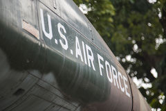 U.S Air Force. Words on a jet fighter stock image