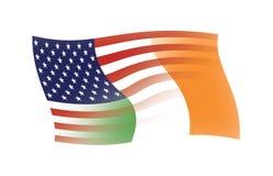 U.S. & Ierse samen gemengde Vlaggen Royalty-vrije Stock Foto