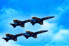 U S Anges de bleu marine au-dessus du Michigan Image libre de droits