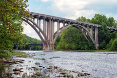 U.S. 22 arch bridge over Little Miami River in southwest Ohio. The open-spandrel concrete arch bridge is in Landen near Cincinnati. It was built in 1937. It is Royalty Free Stock Photography