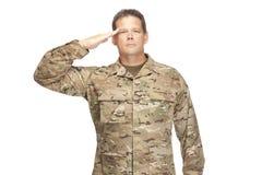 U S Armésoldat, sergeant Isolerat och salutera arkivbilder