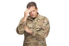 U S Armésoldat, sergeant Isolerat och stressat royaltyfria foton