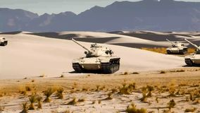 U.S. Army Combat Tansk in the Desert. U.S. Army war tank positioned in the dry hot desert stock video footage