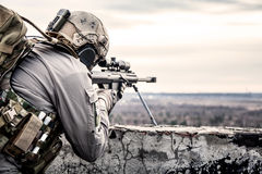 U.S. Army sniper. During the military operation Royalty Free Stock Photo