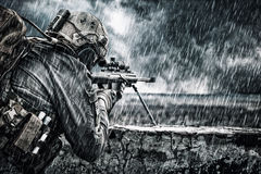 U.S. Army sniper. During the military operation Royalty Free Stock Images