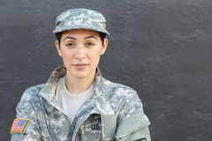 U.S. Army Soldier, Sergeant. Isolated close up showing stress, PTSD or sadness.  stock photo