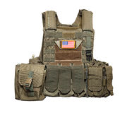 U.S. Army tactical bulletproof vest. Isolated on a white background. Studio shot Royalty Free Stock Photos