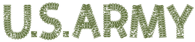 U.S. Army text with the letters made of tank tracks Stock Photography