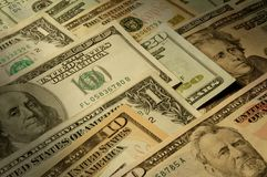 U.S. banknotes of various dollar denominations Stock Image