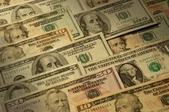 U.S. banknotes of various dollar denominations Royalty Free Stock Photography