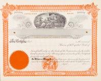 U.S. Bedrijf van de Mijnbouw van het Certificaat van de voorraad 1898 Mijnwerkers Stock Afbeelding