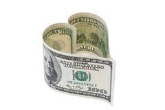 U.S. billet d'un dollar dans la forme de coeur Photographie stock libre de droits