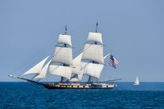 U.S. Brig Niagara. This is a Summer picture of the U.S. Brig Niagata in full sail on Lake Michigan off the lakefront of Chicago, Illinois. This ship Isabel exact royalty free stock images