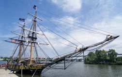 U.S. Brig Niagara Tall Ship. The reconstructed U.S. Brig Niagara tall ship docked in the port of Toledo Ohio. The ship foguht in the Battle of Lake Erie in the stock photography