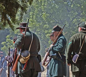 U.S. Burgeroorlogactoren die Unie Sharpshoot afbeelden Stock Fotografie