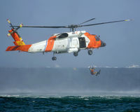 U.S.C.G Helicopter Rescue   Stock Photo
