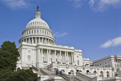 U.S. Capitol. Building captured at a low angle on sunny day royalty free stock photo