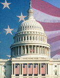 U.S. Capitol with American Flags. Digital collage of U.S. Capitol and American flag, Historic flags hanging from Capitol Building Stock Photos