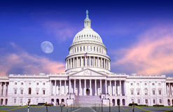 U.S. Capitol building at dusk with full moon Stock Image