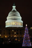 U.S. Capitol with Christmas Tree Royalty Free Stock Image