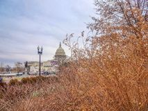 U.S. Capitol on cloudy day royalty free stock photos