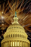 U.S. Capitol dome at night with fireworks Royalty Free Stock Image