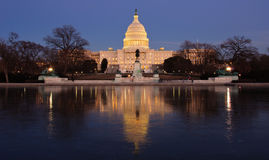 The U.S. Capitol at night. Washington DC Royalty Free Stock Image